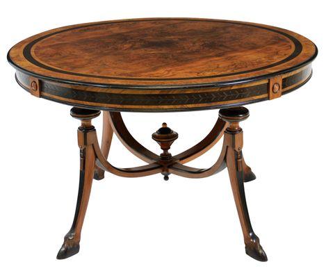 Tavolino da salotto in legno di noce ed ebano, Francia, fine XIX ...