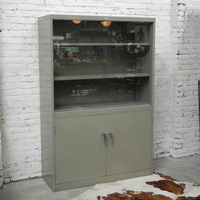 Mid Century Industrial Steel Display Cabinet With 2 Sliding Doors From  Mewaf 2