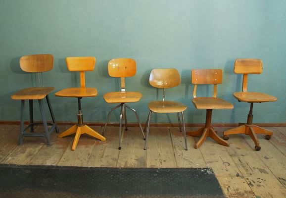 Attirant Vintage Industrial Work Chairs, Set Of 6 1