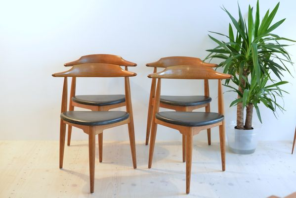 Oak No.4104 Heart Chairs By Hans J. Wegner For Fritz Hansen, 1965