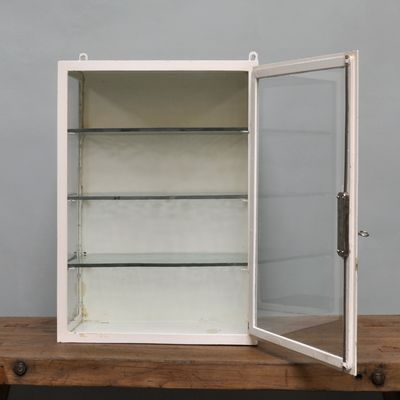 Small Hanging Iron & Antique Glass Medicine Cabinet, 1940s 10 - Small Hanging Iron & Antique Glass Medicine Cabinet, 1940s For Sale