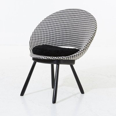 Gentil Swedish Chair With Houndstooth Pattern And Sheepskin Seat, 1950s 5