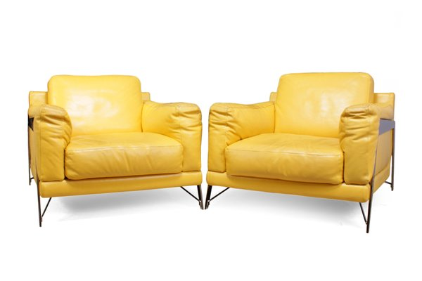 Vintage stühle aus leder & chrom von roche bobois 1980er 2er set