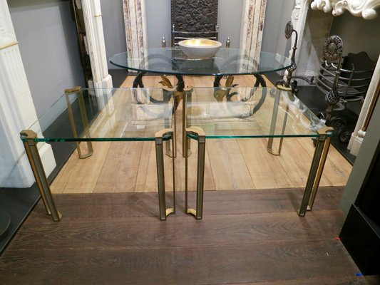 Charmant Vintage Brass And Glass End Tables By Peter Ghyczy, Set Of 2