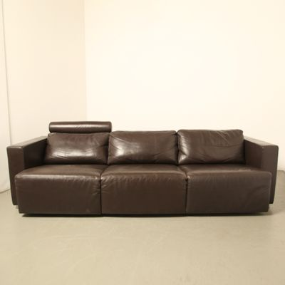 Vintage Modular Brown Leather Sofa By Walter Knoll 1