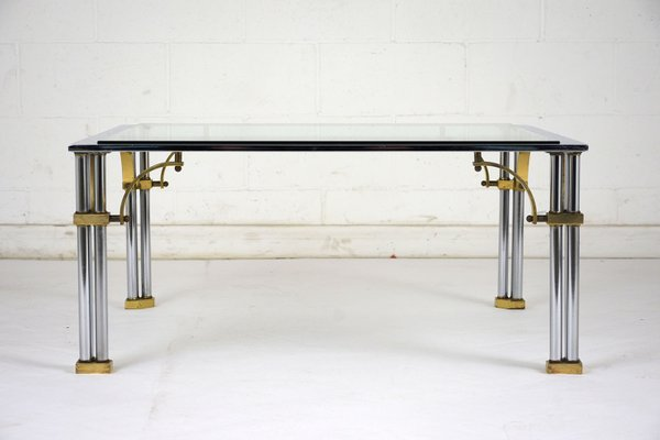 f6cba68fd28cd Square Mid-Century Chrome   Brass Coffee Table