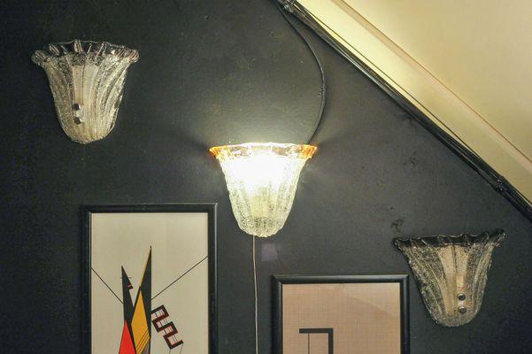 Lampade da parete a forma di conchiglia di mazzega anni set