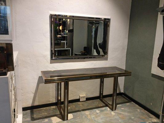 Consolle con specchio di Romeo Rega, anni \'70 in vendita su Pamono