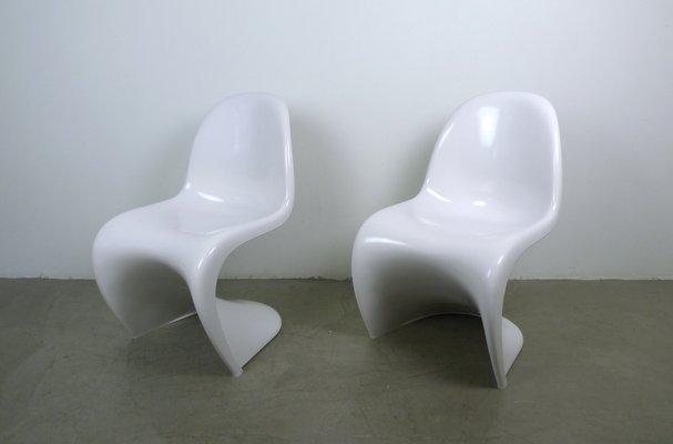 Sedie Bianche Design : Sedie panton bianche di verner panton per fehlbaum set di