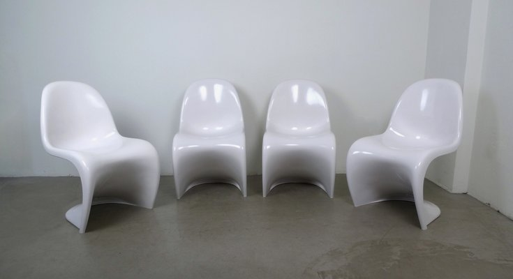 White Panton Chairs by Verner Panton for Vitra, 1971, Set of 4