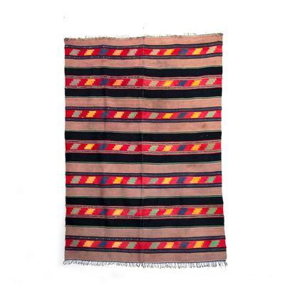 Vintage Handmade Black Brown Wool Rug With Geometric Designs