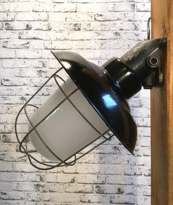 Industrielle Émaillée Applique Noir Vintage Fonte En Murale PZuTiOkX