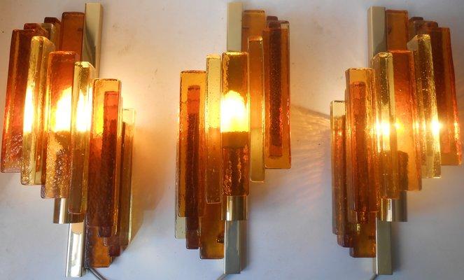 Applique rustiche in vetro ed ottone di avend aage holm sorensen per