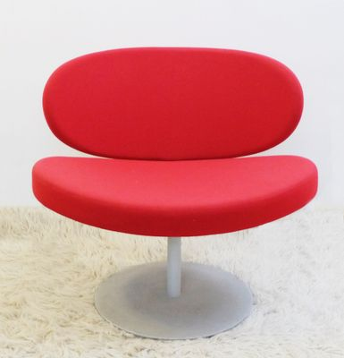 Vintage Red Swivel Chair With Disc Base 1