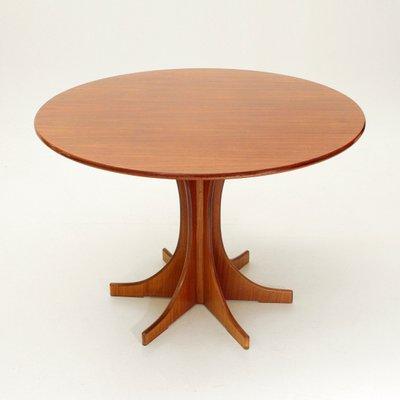 Tavolo da pranzo rotondo in legno, Italia, anni \'60 in vendita su Pamono