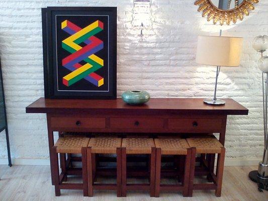 Sgabello In Legno Design : Tavolo pieghevolo o consolle e sgabelli in legno ipe anni