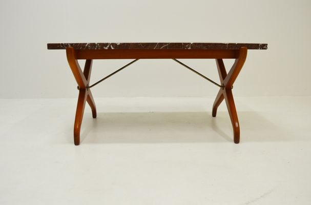 Mid Century Marble U0026 Mahogany Coffee Table By David Rosen For Nordiska  Kompaniet 1