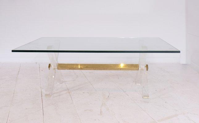 Table Basse En Laiton Doré Lucite Verre France 1980s