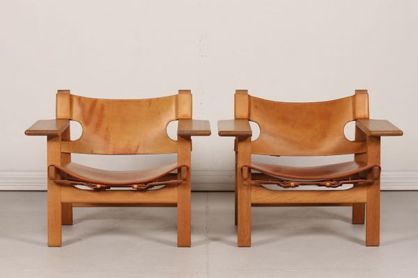 Danish Model 2226 Leather And Oak Spanish Chairs By Børge Mogensen For  Fredericia, 1980s,