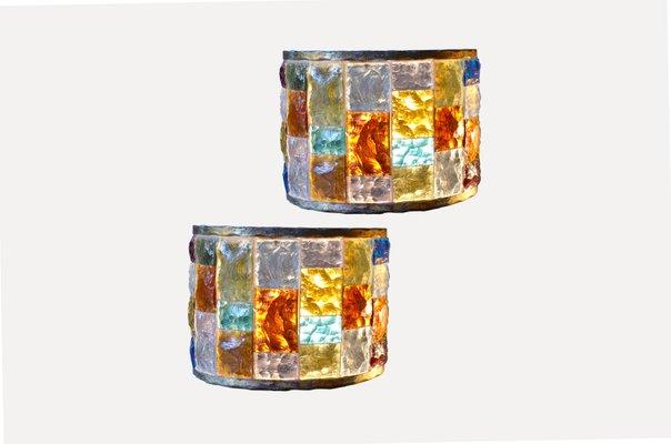 Applique vintage da parete in vetro colorato set di in vendita