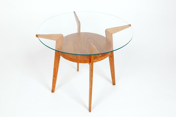 MidCentury Wood Glass Coffee Table For Sale At Pamono - Mid century wood and glass coffee table