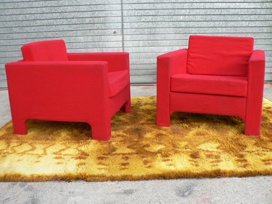 Red Armchairs, 1960s, Set Of 2 1