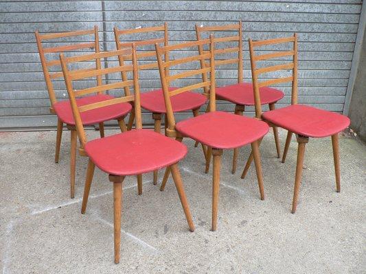 Sedie Vintage Anni 50 : Sedie vintage in similpelle rossa anni 50 set di 6 in vendita su