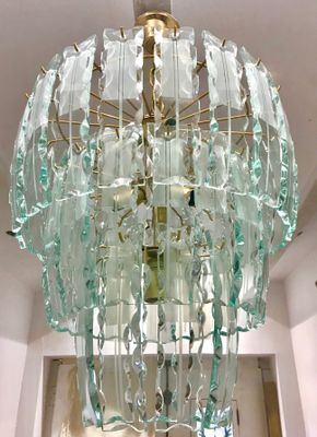 Vintage murano crystal chandelier with gilt frame for sale at pamono vintage murano crystal chandelier with gilt frame 1 aloadofball Gallery
