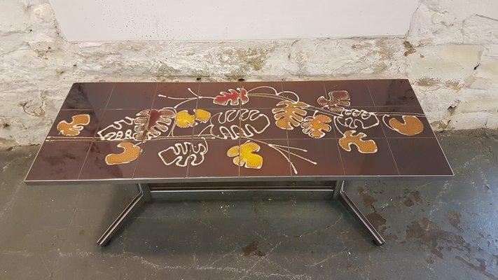 Gemusterter Tisch Mit Fliesen In Braun U0026 Orange, 1960er 3