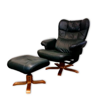 green leather reclining chair footstool from unico 1980s for sale
