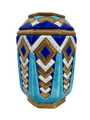 Art Deco French Ceramic Vase with Craquelure by Emaux de Longwy