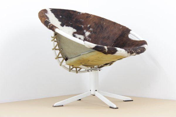 Cool Mid Century Cowhide Leather Circle Chair From Lusch Erzeugnis 1960S Evergreenethics Interior Chair Design Evergreenethicsorg
