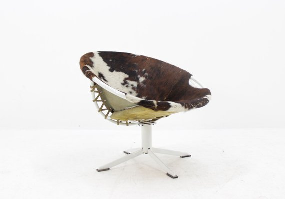 Mid Century Cowhide Leather Circle Chair From Lusch Erzeugnis, 1960s 1