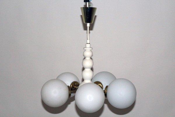 Lampadario Bianco Legno : Lampadario in legno bianco e vetro opalino di orion anni in