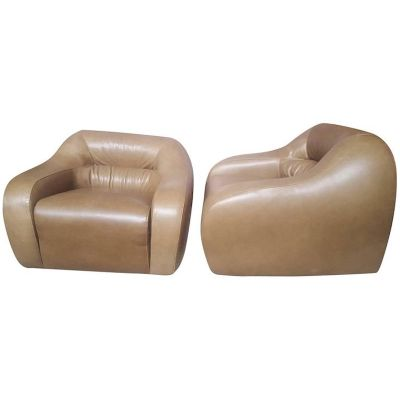 Italian Light Brown Leather Armchairs, 1970s, Set Of 2 1