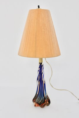 Mid Century Blue Conical Glass Table Lamp 1950s For Sale At Pamono
