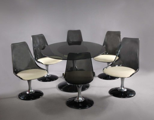 Oval Table U0026 6 Swiveling Tulip Chairs From Chromcraft, 1970s
