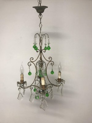 Vintage italian crystal chandelier with green murano glass drops for vintage italian crystal chandelier with green murano glass drops 1 aloadofball Images