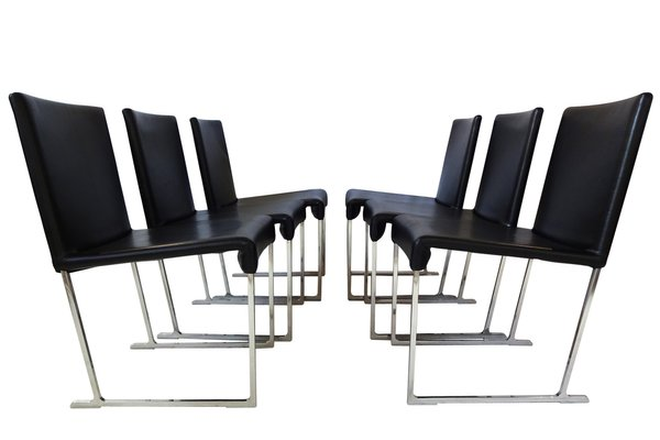 maxalto solo dining chairs in black leather by antonio citterio for