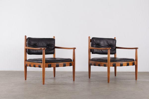 Sedie Vintage Pelle : Sedie vintage in pelle nera di eric merthen scandinavia set di 2