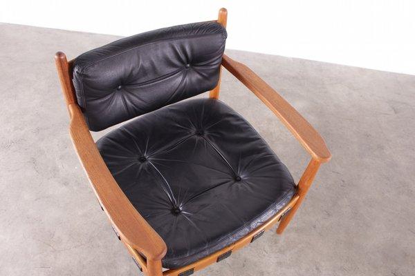 Sedie Vintage Pelle : Sedie vintage in pelle nera di eric merthen scandinavia set di