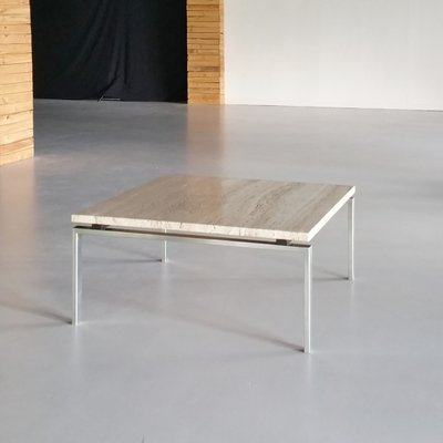 Travertine And Stainless Steel Coffee Table, 1960s 1