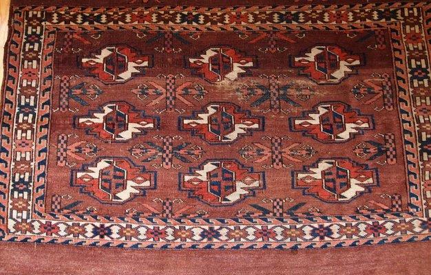 Handgefertigter Antiker Turkmenischer Yomud Teppich 1880er Bei