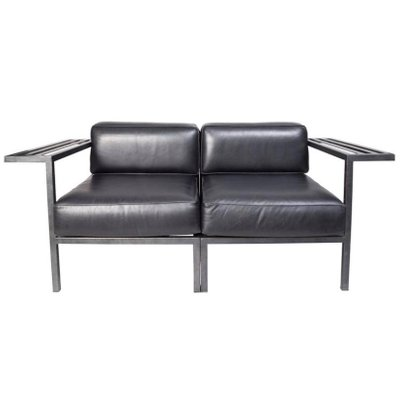 Magnificent French Black Leather Lounge Chairs 1980S Set Of 2 Pabps2019 Chair Design Images Pabps2019Com