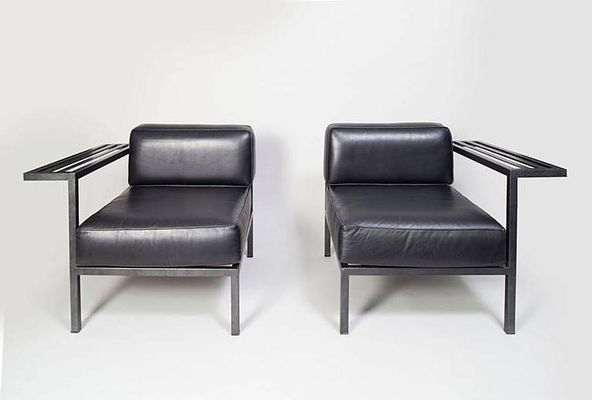Enjoyable French Black Leather Lounge Chairs 1980S Set Of 2 Pabps2019 Chair Design Images Pabps2019Com