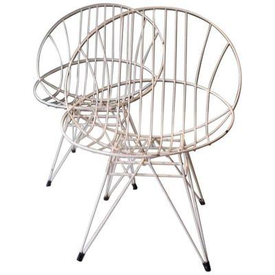 Weiß Bemalte Metall Gartenstühle, 1960er, 2er Set 2