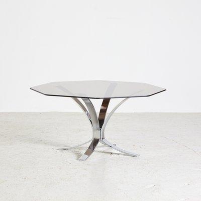 Table Basse Vintage Octogonale avec Plateau en Verre Fumé, 1970s