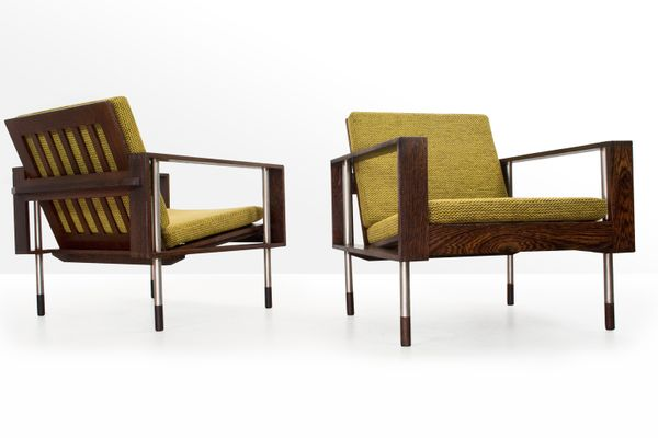 Mid Century Lounge Chairs In Wengé From Fristho, 1950s, Set Of 2 1