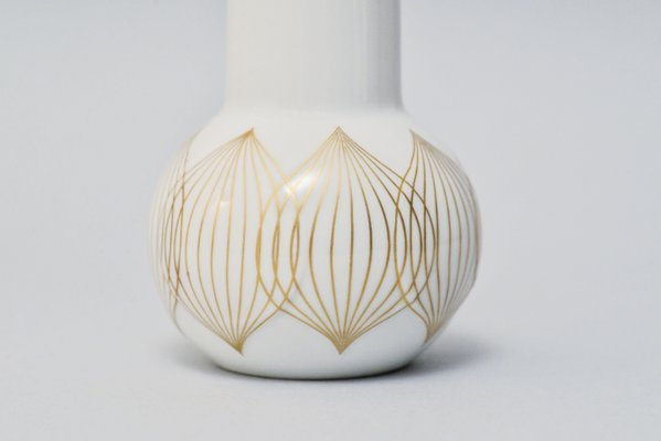 Vintage White Porcelain Vase With Gold Lines By Bjorn Wiinbald For