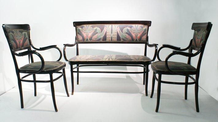Antike Bugholz Armlehnstühle und Sofa Set von H. Malveau für Josef ...
